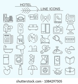 Set hotel vector line icons editable stroke