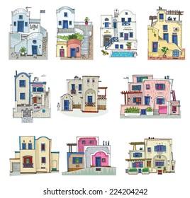 set of hotels on Santorini island, Greece - cartoon