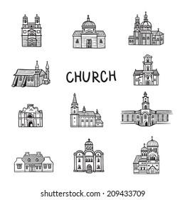 Set of house icons. Doodles Church. Line illustration. Hand drawn illustration. Fun arts. Cartoon style.
