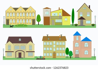 Set of house icons on white background with trees, lanterns and flower beds. Vector image.