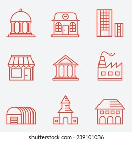Set of house icons, thin line style, flat design