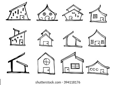 Set of House illustration Hand drawn doodle Sketch line vector
