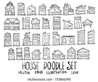 Set of House illustration Hand drawn doodle Sketch line vector