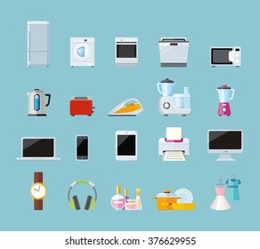 Set of household appliances design flat. Appliances household, household items, washing machine, kitchen appliances, appliance home, machine and equipment, refrigerator and microwave illustration