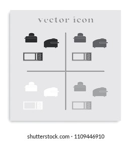 Set of household appliances flat black and white vector icon.