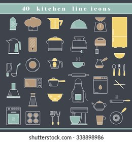 Set of household appliances, kitchen and restaurant accessories, equipment, cooking utensils, cutlery tools, kitchenware and cookware outline thin line icons for food preparation. Flat design