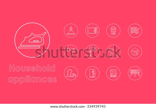 It is a set of household appliances simple web icons