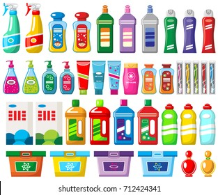 Set of household chemicals and cleaners on a white background. Vector