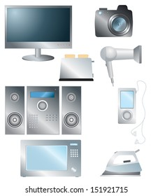 Set of household electronic elements.Vector symbol illustration