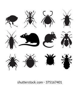 set of household pests in pure style
