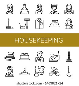 Set of housekeeping icons such as Maid, Mop, Dustpan, Ironed, Bellboy, Iron, Housekeeper, Wipes, Hanger, Sponge, Hand sanitizer , housekeeping