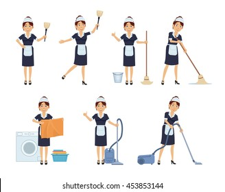 Set of housemaid characters posing in different situations. Cheerful maid doing household chores, washing, cleaning. Simple style vector illustration