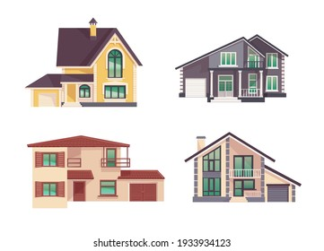 set of houses in a flat style.Isolated vector illustration of a cozy cottage on a white background.Use it as an ionka, a symbol of construction, renovation, home sale, real estate agency. home facade