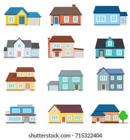 Set of houses front view. Collection of icons of urban and suburban house, town house, and cottage. Isolated vector illustration