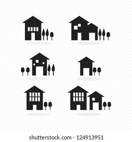 Set of houses silhouettes, on white background
