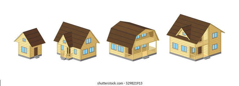 Set of houses from small to large for private construction. Vector illustration