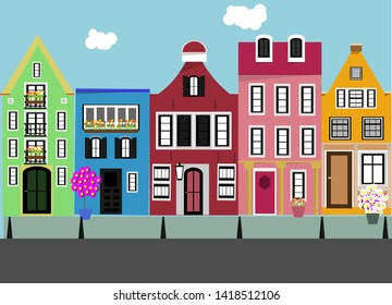 SEt of houses. Street. Outdoors. Vector.