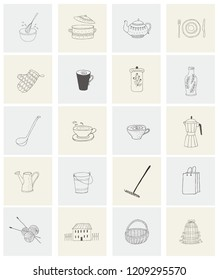 Set with housewares, garden items and house for print Concept collection hand drawn design elements, logos, icons with personal items.