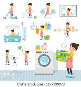 A set of housewife related to housekeeping such as cleaning and laundry.There are various actions such as child rearing.It's vector art so it's easy to edit.
