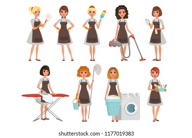 Set of housewives with different equipment. Housekeeper. Cleaning service. Pretty women wearing gray dresses and brown aprons. Cartoon young girls. Flat vector design