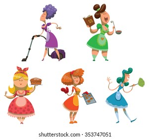 Set of housewives. somebody cleaning in the house. Somebody cooking something delicious. Somebody baking sweets. Very colorful illustrations. Vector