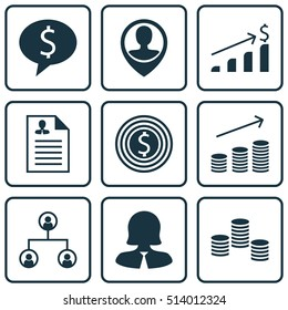 Set Of Hr Icons On Money, Curriculum Vitae And Employee Location Topics. Editable Vector Illustration. Includes Resume, Discussion, Money And More Elements