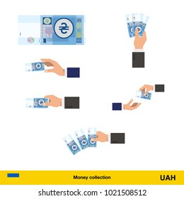 Set of  hryvnia banknote. Holding, throwing  hryvnia banknote.