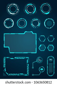 Set of HUD Circle, Frame for Game, Sci fi Interface Elements - for Web Applications, Futuristic UI - Illustration Vector Included notification, frame, loading, dashboard, hologram and more