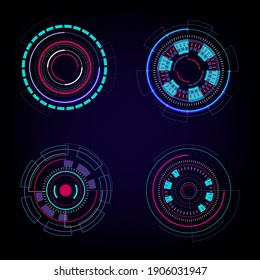 Set of HUD circles technology circles elements on dark blue background. Abstract Futuristic Technology Background. HUD circle element. Hi-tech communication concept. Vector illustration