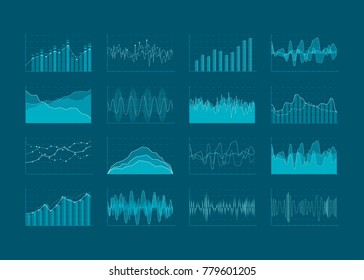 Set of HUD and infographic elements. Data analysis and analytics visualization. Futuristic user interface. Vector illustration isolated on dark background