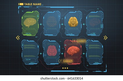 set of HUD infographic panels with brain. Head-up display banners for the web and app. Futuristic user interface. Virtual graphic.