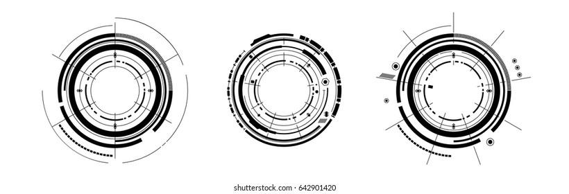 set of hud ui elements future futuristic icon design isolated