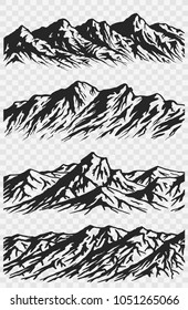 Set of huge mountains silhouettes isolated on transparent background. Vector mountain ranges illustrations.