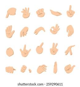 Set of human cartoon hands - Vector illustration