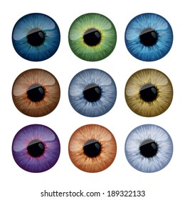 Set of human eyes iris isolated on white background.