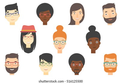 Set of human faces expressing positive emotions. Human faces with wide smiles. Set of cheerful people with happy facial expressions. Vector flat design illustrations isolated on white background.