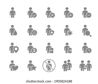 Set of human gray icon. Men with different navigation and more.