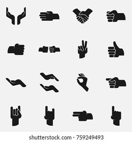 Set of human hand gestures vector icon.