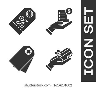 Set Human hand holding with credit card, Discount percent tag, Blank label template price tag and Human hand holding with blank receipt or bill for payment icon. Vector
