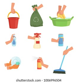 Set of human hands and cleaning supplies. Bucket, garbage bag, sponge for dishwashing, detergent, plastic basin, air freshener, liquid soap, brush. Flat vector design
