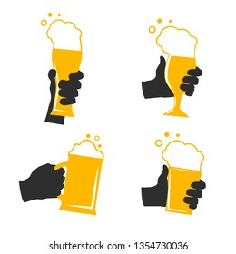 Set of human hands holding glass with alcohol. Vector illustration.