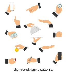 A set of human hands showing different gestures holding different objects. Gestures of hands. Vector illustration.