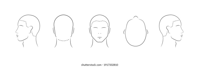 Set of human head icons. Head guidelines for barbershop, haircut salon. Lined male head in different angles isolated on white background. Vector illustration