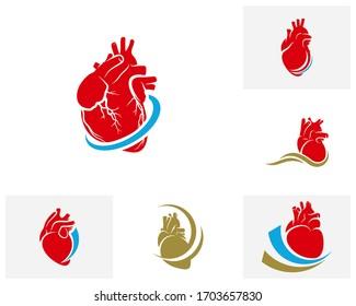 Set of Human Heart logo vector template, Creative Human Heart logo design concepts