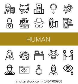 Set of human icons such as Professor, Businessman, Heart, Hospital, Hacker, Male, Worker, Laughing, Payment, Manager, Mammoth, Visual, Desk, Genderqueer, Hand puppet, Air hostess , human