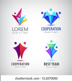 Set of human icons. Vector colorful logo design template. Concept for teamwork, creativity, training, business partnership, sport team, family