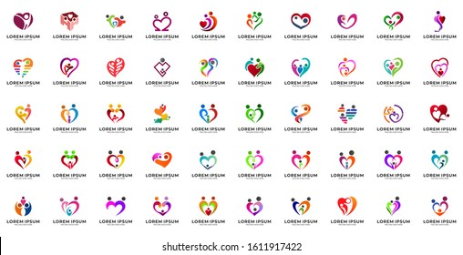 Set of human love and care logo design. Happy family, human relationship, childcare, kids foundation logo collection. Human in heart shape vector