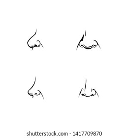 Set of human noses of different shapes and angles. Icons, part of the face in profile, frontal in the comics style. Nostrils, nasal bridge and nasolabial folds. Tactile organ. Vector elements