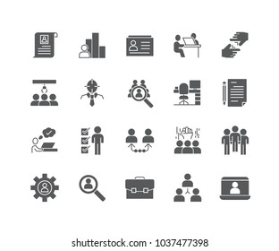 Set of Human Resources filled icons isolated on white background.
