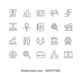 Set of Human Resources outline icons isolated on white background.